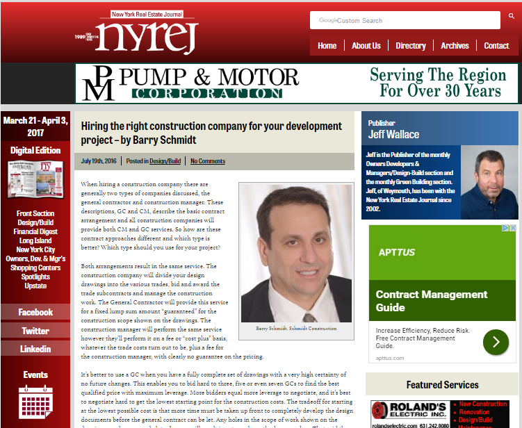 Click to Read Barry Schmidt's development blog in the New York Real Estate Journal