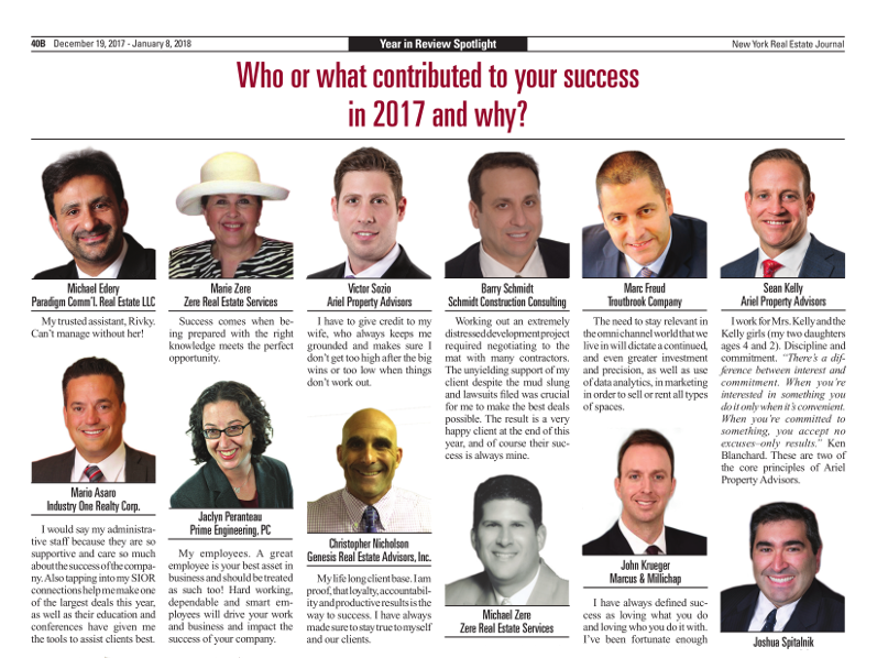 Click to read Barry Schmidt's 2017 Year in Review as seen in the New York Real Estate Journal