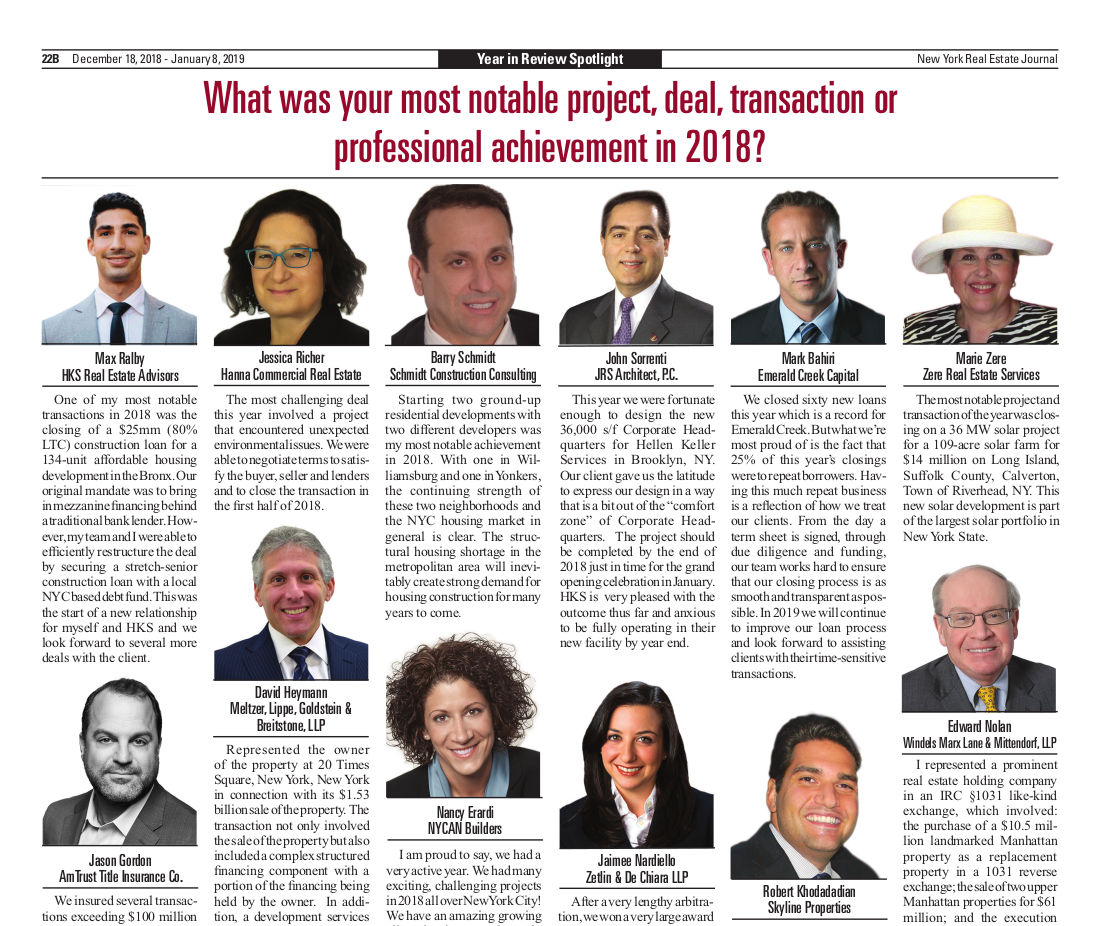 Click to read Barry Schmidt's 2018 Year in Review as seen in the New York Real Estate Journal